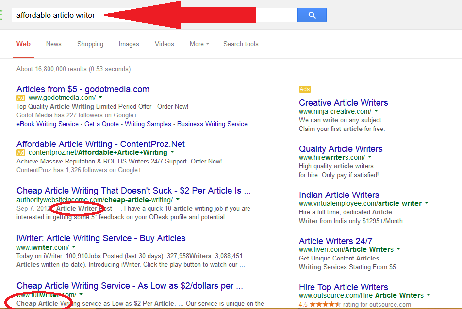 Google article writer