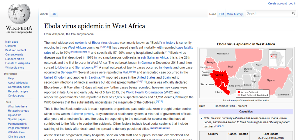 Ebola outbreak in West Africa 2014