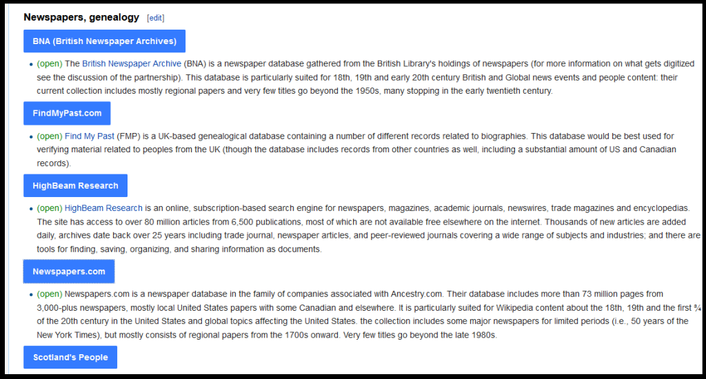 Screenshot of the Newspaper Archive section of the Wikipedia Library (via the reference desk). You can see two archives that I use on a regular basis that would normally run approximately $50 per month. However, they are free if you are a regular contributor.