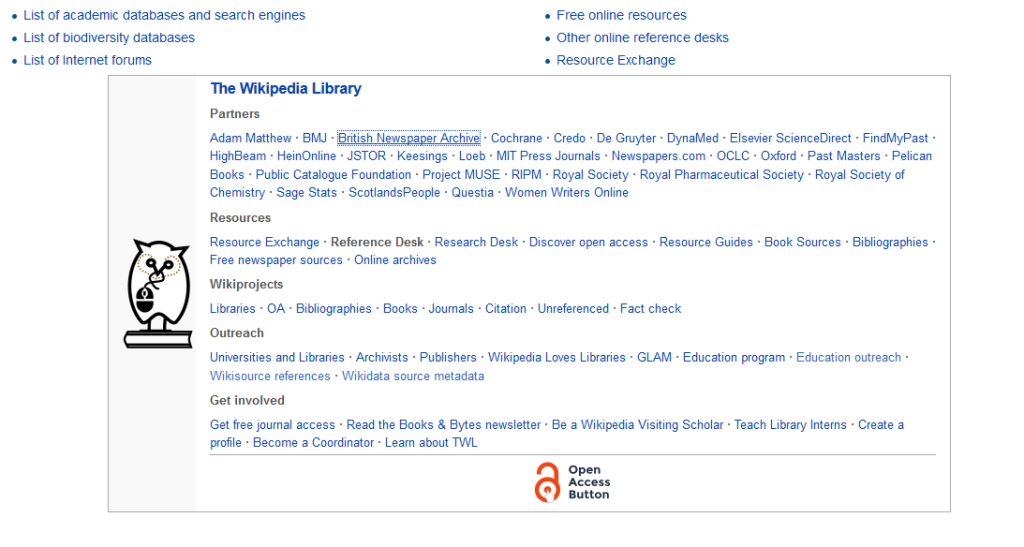 The Wikipedia Library links from the reference desk. The Library has links to many sources you can use for your research project, including sources outside of Wikipedia.
