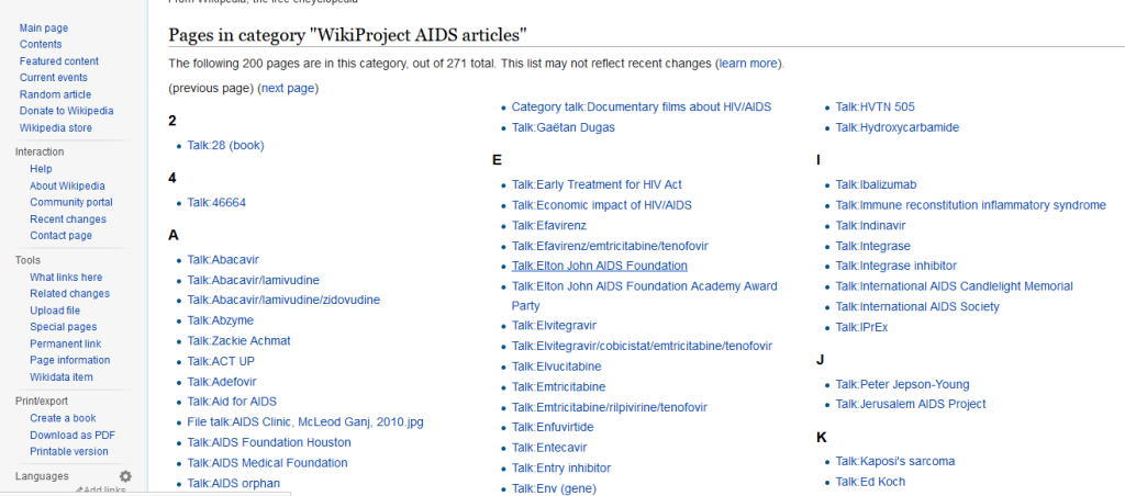 Wiki project AIDS directory screenshot