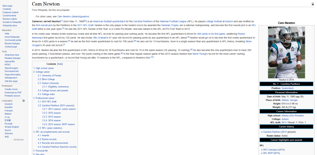 Cam Newton Trolled on Wikipedia