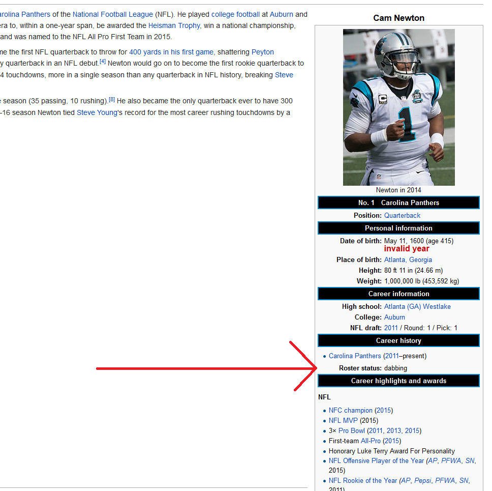 Cam Newton Trolled On Wikipedia Legalmorning
