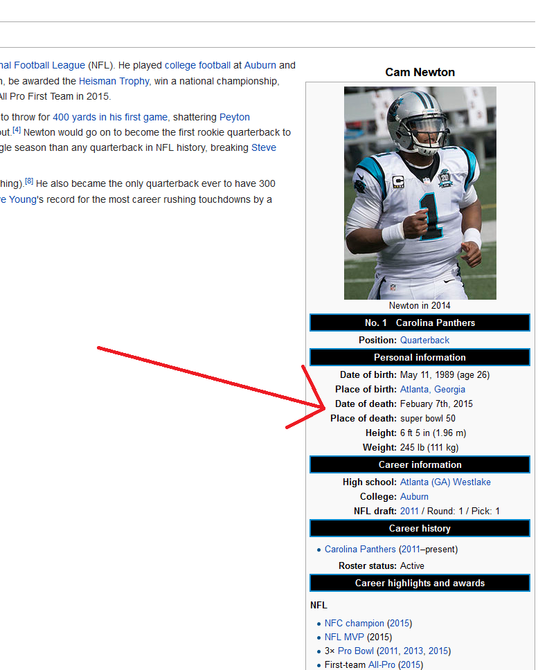 Cam Newton Trolled on Wikipedia - Legalmorning