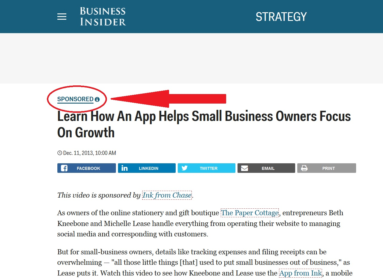 Business Insider screenshot sponsored post